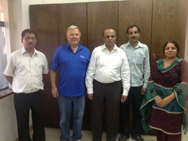 Ray with K.M. Pai & Staff at Mauria Udyon LTD. India's largest LPG cylinder manufacturing facility.