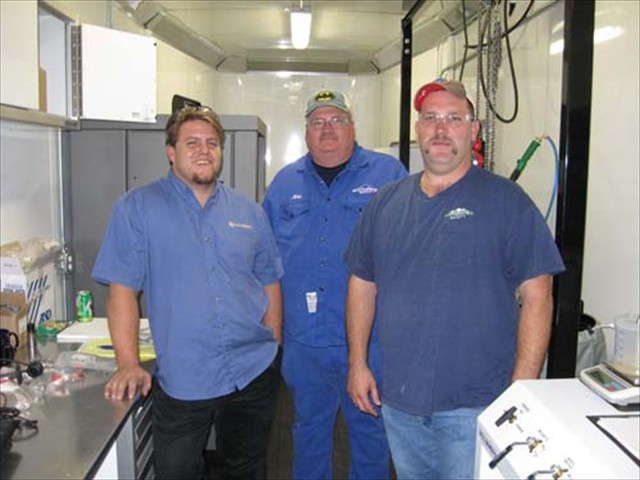 Ricky, Mike and Kevin in the Oilind Mobile Unit