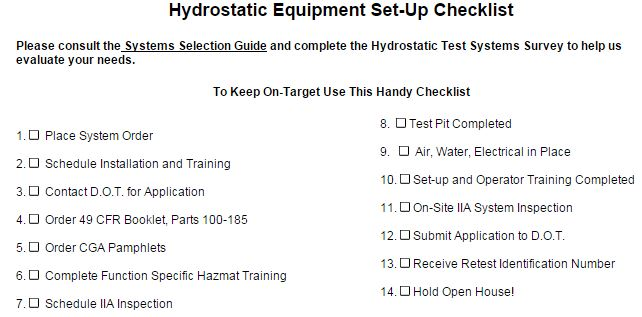 A Checklist for Hydro Testers